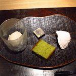新屋敷 幸福論 - 2013/12 ディナー デセール  私の大好きなほうじ茶アイスに黄粉生チョコ・抹茶カステラ・苺ムース