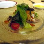 Guruton - 2013/12/02 アトランティックサーモンのハーブマリネの長野県産柿とチーズのクレープ包み トリュフドレッシング