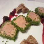 カーサ ビアンカ カフェ - フォアグラのテリーヌ ベリーのソースとドライフルーツを添えて