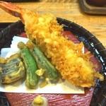 割烹 ばい月 - 天ぷらには大きな海老が1尾