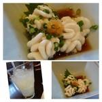 22906992 - 最初に「鱈の白子」のポン酢がけ。上質の「タチ」ですので、美味しいですね。                       一緒に「柚子酒」を頂きながら・・