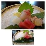 22906994 - お刺身・・「鯛」「烏賊」「鮪」「タコ」。普通に美味しいかな。