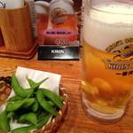 ゆうき亭 - 【'13.7】イカのソテーに帆立フライ、チョリソに生か酎ハイが選べる!…&お通しの枝豆