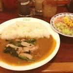 カレーショップ C&C - 昨日食べたほうれん草ベーコンカレー500円とサラダ100円。C