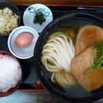 瀬戸内製麺710 - ひやあつきつねうどん&比内地鶏卵かけご飯(H25.11.18)