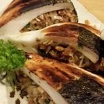 地酒と宮城のうまいもん処 斎太郎 - はんぺん納豆。炭火焼きで外はカリッと中はふわっと。