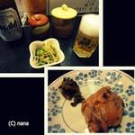 天ぷら亭 - お通しは穴子と胡瓜の和え物でグッド。塩辛と高菜はサービス。これだけで飲めます!