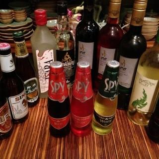 豊富なタイのビール、ワイン