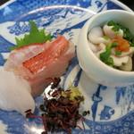22952613 - 造り 銚子産金目鯛の炙り 青森産平目 北海道産真鱈の白子