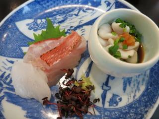 つむぎや - 造り 銚子産金目鯛の炙り 青森産平目 北海道産真鱈の白子