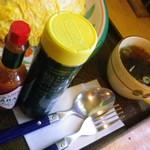 ペリカンレスト - 付いてくる粉チーズ・タバスコ