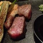 鉄板焼 天 本丸 - 肉は少量だが、全体で考えるとボリュームあって満足!