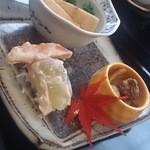 22968878 - 慈姑・零余子・銀杏・柿とマスカットの和え物・ブロッコリーと油揚げの煮物