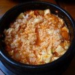 韓国家庭料理 スッカラとチョッカラ - チゲにご飯を入れたところ