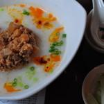 悟空茶荘 - 帆立スープごはん 薬味の青いザーサイ