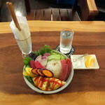 レキュム・デ・ジュール - 旬の有機野菜とハム卵ごはん、岩塩とメイヤーレモンを添えて
