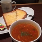 進々堂 - ミネストローネ(ボウル)とトースト(醍醐味)とコーヒー