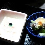 23019186 - 前菜 真鯛と九条ネギの酢味噌と生湯葉。
