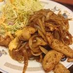 味仙 - 豚トロの黒胡椒炒め。