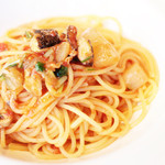 sfida - パスタ:炙り秋刀魚と大根のスパゲティ・肝アラビアータ  '13 11月下旬