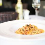 sfida - 料理写真:パスタ:炙り秋刀魚と大根のスパゲティ・肝アラビアータ  '13 11月下旬