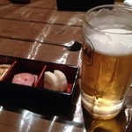 鳥波羅蜜 - お通しと生ビール