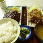 御徒町食堂 - Dec, 13 ハンバーグ定食デミグラス味 880円 日替りの付け合せは豚の焼肉
