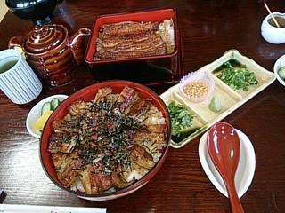 新松 - 奥:うな重(2500円) 手前:うな茶(3000円)