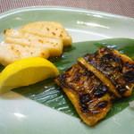 割烹 杉本 - 帆立、穴子焼き物
