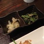 23091922 - かつべ牛すじカレー小丼と「野菜とり放題」ランチ(1,400円)の小鉢