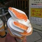 アップルファーム軽井沢(夏季限定ショップ) - これが噂のにんじんソフトクリ-ム 350円