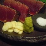 23099820 - カツオのたたきの調味料群(塩、にんにく、ゆず胡椒)