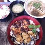 さくら庵 城山 - 地物の穴子と牡蠣の丼(ご飯は出汁の炊き込み)