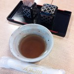 なみき庵 - お茶、おしぼり、一味等(H25.12.10撮影)