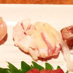 鶏家 たちばな - 比内地鶏のお造り盛り合わせ:ささみタタキ? '13 11月下旬