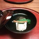 23114945 - お椀 : 清汁仕立て 髭鱈酒蒸し  焼き下仁田ネギ