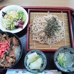 喜楽食堂 - 焼肉丼(ミニ)・ざるそばセット 870円