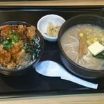 23123715 - 味噌ラーメンとミニザンキ丼                       998円……(