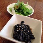 セイヤン - 小鉢(茄子の揚げびたし)とサラダ