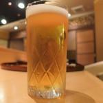 鮨 土方 - まずは生ビールからです。