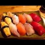 焼鳥 鳥陣 ~なごみ~ - 寿司5貫盛り