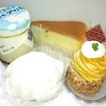 プティ・クリフ - ミルクプリン、チーズケーキ、ぶどう生大福、かぼちゃモンブラン