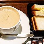 上島珈琲店 - パンの商品名忘れた:^^;無糖ミルクコーヒーとで490円