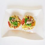 創作居酒屋 人(JIN) - 玉ねぎとトマトのチーズ焼き  ベーコンとの相性ばっちりです(^-^)