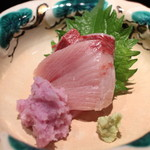 一献 - 能登(輪島)の寒鰤 水菜が敷かれております 辛味大根で