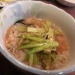 万里村 - 梅茶漬けにネギチャーシュー乗せ(2013/12)