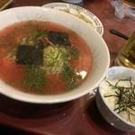 万里村 - 大人気!!梅ラーメン-梅茶漬け付(2013/12)