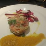 オルティージャ - 蟹、帆立、かんぱちのミルフィーユ仕立て、ラディッキョ