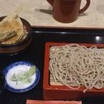 やぶ久 - ランチ:お好みセット800円(もりそば+ミニいとより天丼)