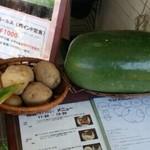 23196011 - 店頭に置いてある本日の使用野菜(じゃがいも、冬瓜)